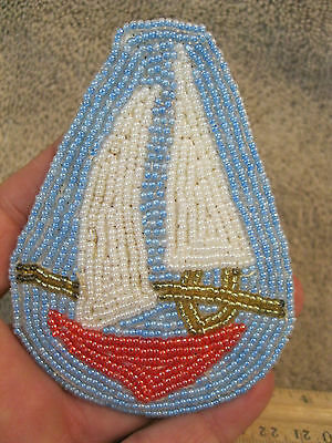 Vtg Nos Nautical Sailboat Boat Large Beaded Handsewn Hair Barrette Clip Glass