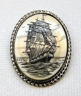 Vintage Rayno Scrimshaw Tall Ship Schooner Pin Pendant 3 masted silver tone