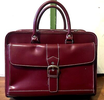 FRANKLIN COVEY Leather Rolling Luggage Wheeled Briefcase Laptop Bag Carry On