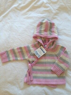 Jo Jo Maman Bebe Hooded Cardigan with Angora and Cashmere Age 0-3 Months