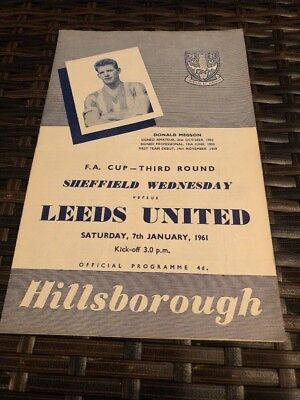 Sheffield Wednesday V Leeds United FA Cup 3rd Round 7th Jan 1961