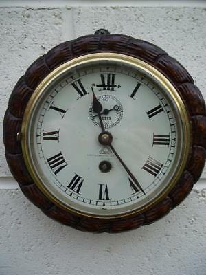 Wonderful Antique Oak Rope Carved Dent Of London 8 Day Ships/bulkhead Wall Clock