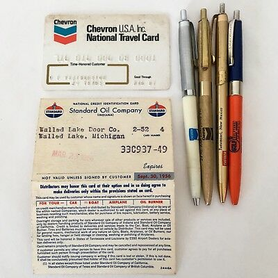 Chevron Standard Gulf Gas Oil Advert Ballpoint Pen Credit Card 1956 87  Lot VTG
