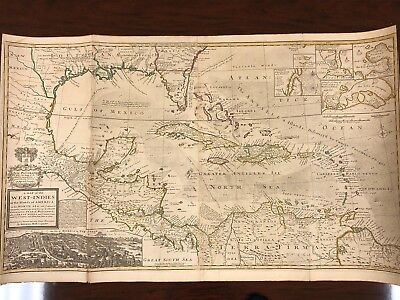"""Antique, Rare West Indies map by Herman Moll (1711) London, England - 40"""" x 23"""""""