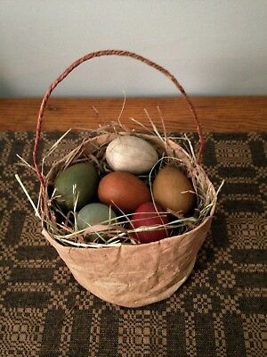 ~*Primitive Spring Easter Grungy Cloth Basket With Eggs*~