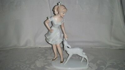 Wallendorf 1764 Germany Girl with White Faun Porcelain Exquisite Detail