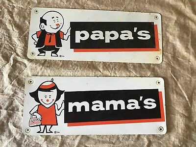 Old A&W Drive In Restaurant Root Beer Family Mamma's & Pappa' s Restroom Signs