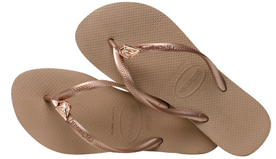 227954dec Havaianas Women`s Flip Flops Slim Epic Sandal Rose Gold   Swarovski  Crystals NWT