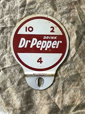 Old Drink Dr Pepper at 10-2 & 4 Tin Advertising Soda License Plate Topper