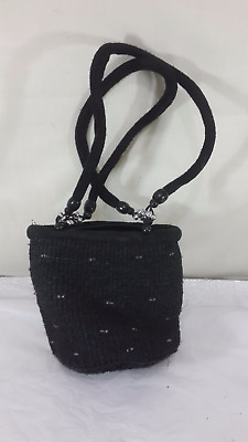 Ethnic Tribal Hand Woven Natural Crafted African Sisal Hand Bag Black Beads