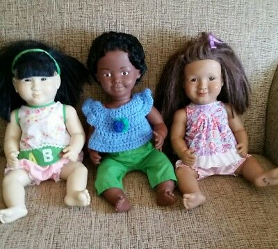 "16"" Lakeshore Doll lot of 3 dolls Black 1988 Asian Hispanic"