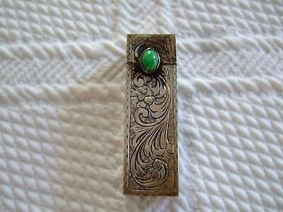 Vintage Ornate Etched SIlver Lipstick Holder with Turquoise Stone and Mirror