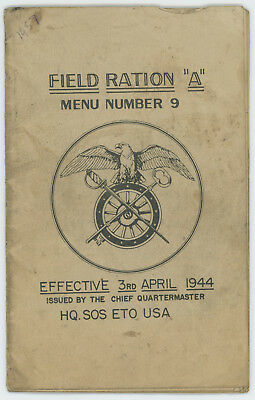 """WWII US Army Quartermaster Field Ration """"A"""" Menu #9 Booklet"""