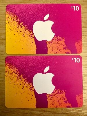 2 x £10 iTunes Gift Cards  - Genuine UK App Store £20