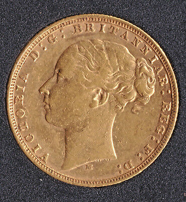 Victoria Young Head 1876-M  Full Gold Sovereign St.George on Reverse