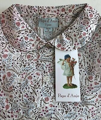 NEW CHILDRENS PAPO D'ANJO Cotton FLORAL BUTTON DOWN SHIRT Sz 3 Yrs  NWT CUTE!!!