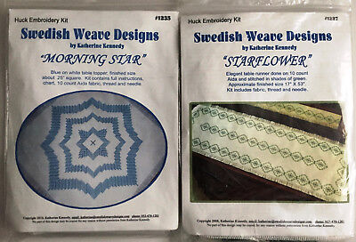 Variety Swedish Weave Designs Huck Embroidery Kits w Fabric by Katherine Kennedy