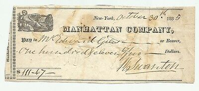 Rare 1835 Manhattan Company New York Early Bank Check