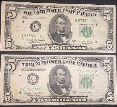 Lot of Two (2) 1950 Series C&D Five Dollar $5 Federal Reserve Notes ONE REPEATER