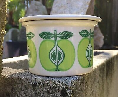 Arabia Finland Mid Century Modern Porcelain Apple Jam Jelly Jar With Lid