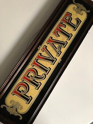 Antique/Vintage gold mirrored PRIVATE pub bar parlor advertising sign wood frame