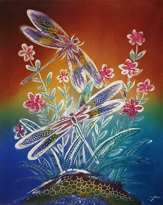 DRAGONFLIES--Quilt/beading, wall art panel--72x89cm--Cotton--Signed