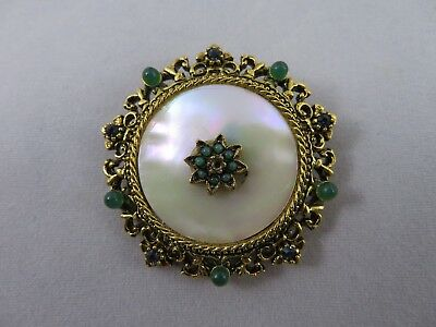 Vintage Brooch Signed Art, Mother Of Pearl, Sapphire Blue Rs, Green Cabs