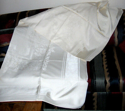 """VINTAGE WHITE 76"""" x 60"""" BROCADE PATTERENED LINEN TABLECLOTH OFF WHITE CREAM"""