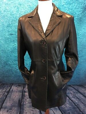 Dockers Black Leather  Jacket in Lamb; Size M; So Soft!