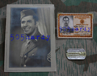 "WWII US 372nd Engineer Portrait & Dog Tag Lot ""Amputated Left Thumb"" - TOP!"