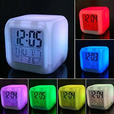 Digital LED Changing Backlight night light LCD Snooze Alarm Clock Thermometer Us