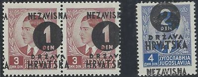 1941 (16 May). 4th Provisional Issue. 1D* & 2D** with OVERPRINT MISPLACED/SPLIT