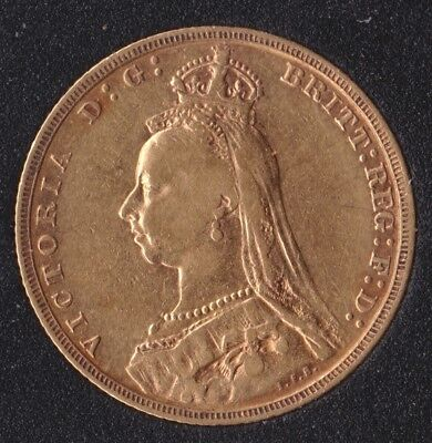 Victoria Jubilee Head1893-M  Full Gold Sovereign St.George on Reverse