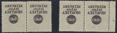 1941 (17 May). FRANCO Provisionals. 50p & 2D in pairs, FULL OFFSET OF OVERPRINT