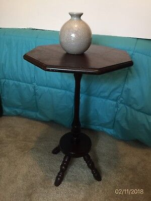 Old Small Octagon Pedestal Table Walnut Color Unknown Age