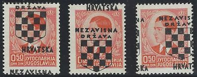 1941 (21 April). 2nd Croatian Provisionals. 3 stamps each with OVERPRINT ERROR