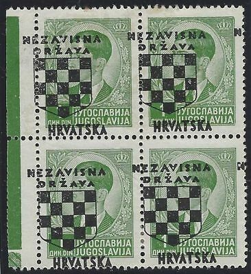 1941 (21 April). 2nd Croatian Provisionals. Block of 4 with OVERPRINT MISPLACED*
