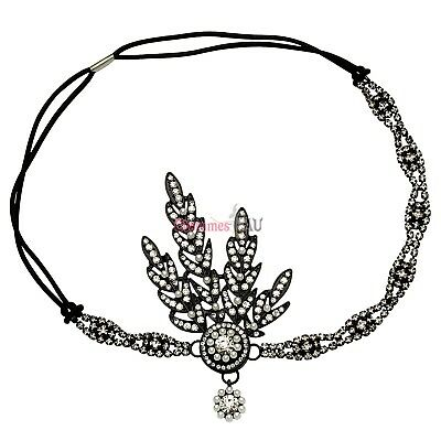 1920s 20s Great Gatsby Headband Vintage Black Flapper Bridal Headpiece Costume