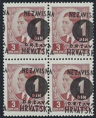 1941 (16 May). 4th Provisional Issue. Block of 4 with OVERPRINT MISPLACED/SPLIT*