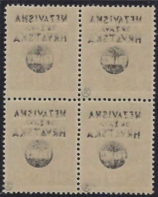 1941 (17 May). FRANCO Provisionals. 50p block of 4, FULL OFFSET of OVERPRINT**