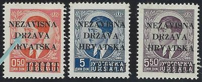 """1941 (12 April). 1st Provisional Issue. 3 values, position No. 30 OPEN """"R"""" ERROR"""