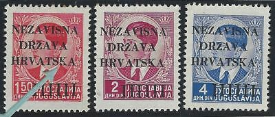 """1941 (12 April). 1st Provisional Issue. 3 values, position No. 99, DAMAGED """"K"""""""