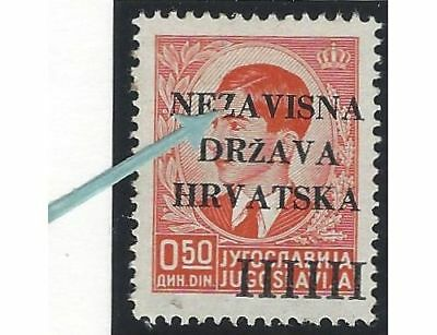 """1941 (12 April). 1st Provisional Issue. 0.50D from position No. 27, BROKEN """"Z"""""""
