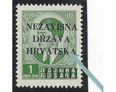 """1941 (12 April). 1st Provisional Issue. 1D from position No. 5, INCOMPLETE """"K"""""""
