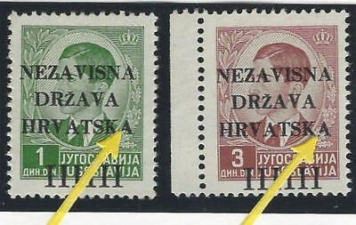 """1941 (12 April). 1st Provisional Issue. 1D & 3D from position No. 41, BROKEN """"A"""""""