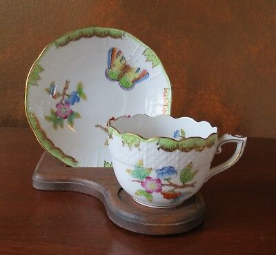 Herend Queen Victoria Flat Demitasse Cup & Saucer Green Border Hungary