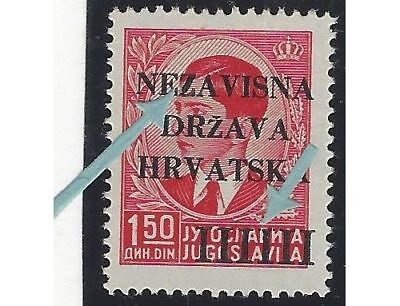 """1941 (12 April). 1st Provisional Issue. 1.50D from position No. 27, BROKEN """"Z"""""""