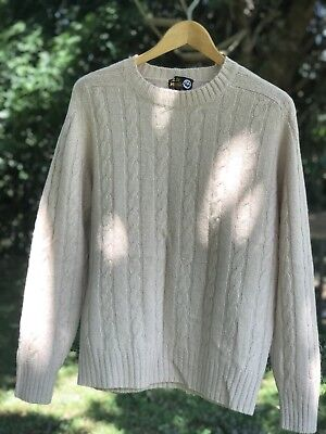 100% Shetland Wool Cable Knit Jumper Vintage Excellent Condition Medium
