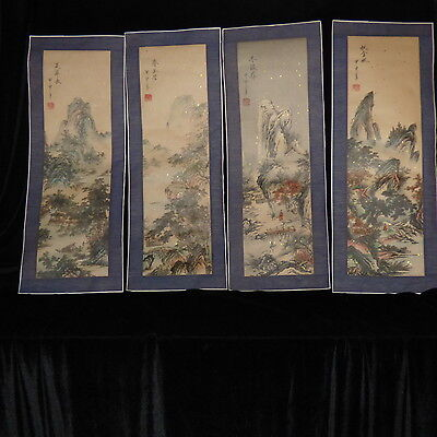 "Chinese Japanese Hand Painted Scrolls 4 Panels Mountain Scenes 10 1/2"" X 28"" Ea"