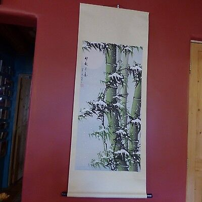 Chinese Japanese Hand Painted Scroll Bamboo In Snow W/ Moon Signed 21 1/2 X 55